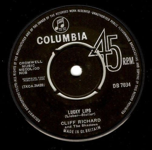 CLIFF RICHARD AND THE SHADOWS Lucky Lips Vinyl Record 7 Inch Columbia 1963